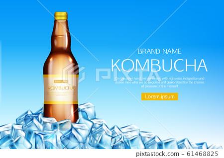 Kombucha bottle on ice cubes heap mockup banner 61468825