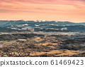 Panoramic view of winter Giant Mountains, Czech: Krkonose, from Jested Mountain. With Jablonec nad Nisou in the foreground, Czech Republic 61469423