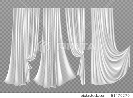 White curtains isolated on background 61470270