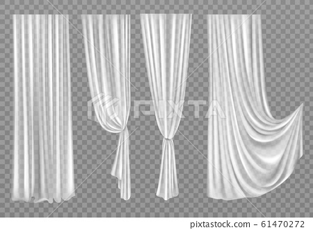 White curtains isolated on background 61470272