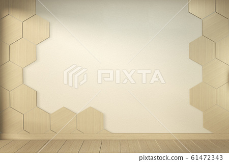 Hexagon tile wall on Empty white room on wooden 61472343