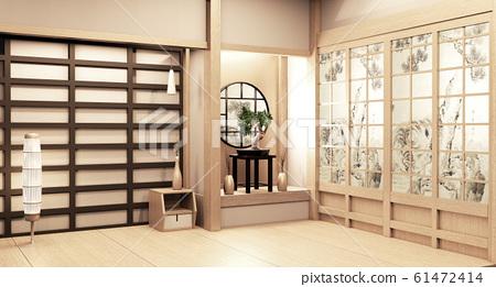 Paper window wooden design on Empty room white 61472414