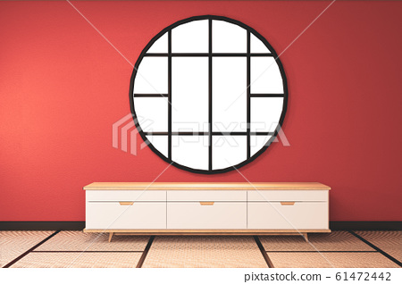 Lush lava empty room with wooden cabinet tv 61472442