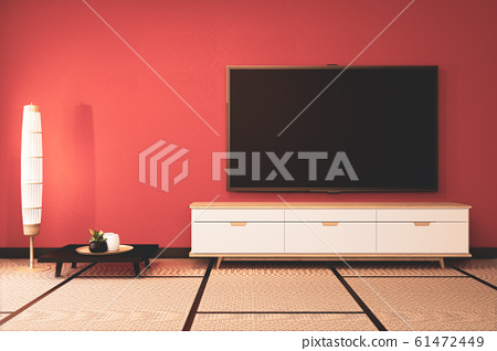 Lush lava empty room with wooden cabinet tv 61472449