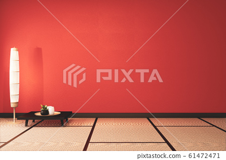 Lush lava empty room with decoraion and tatami mat 61472471