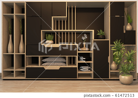 Black and white Cabinet mix wardrobe shelf wooden 61472513