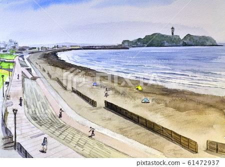 Enoshima Kugenuma Coast watercolor 61472937