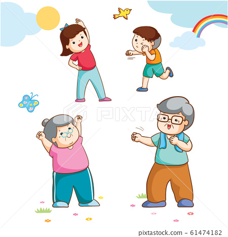 Family with grandparent and children all exercising vector illustration. 61474182