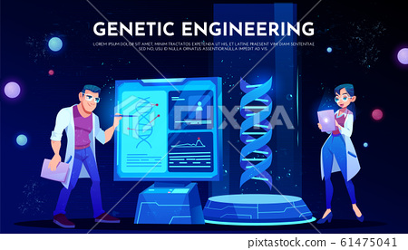 scientists in white robes study dna on screen 61475041