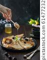Tasty traditional russian pancakes, honey. 61477232