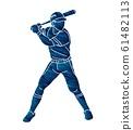 Baseball player action cartoon graphic vector. 61482113