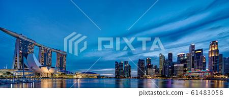 新加坡濱海灣夜景大全景 61483058