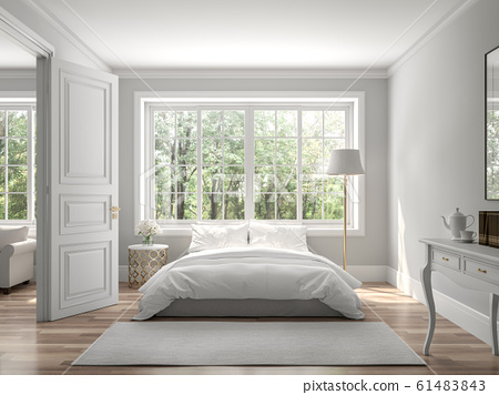 Classical bedroom and living room 3d render 61483843