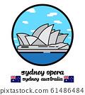 Circle Icon sydney Opera  in Sydney Australia vector line icon. 61486484