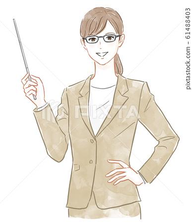 穿著西裝拿著指點桿的女人 61488403