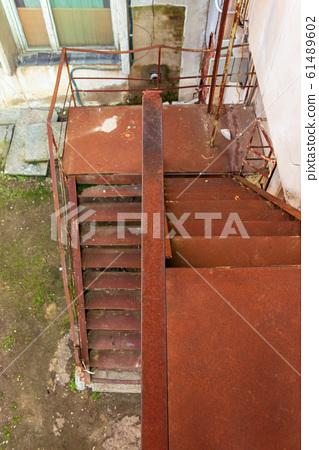 rustic metal stairs 61489602