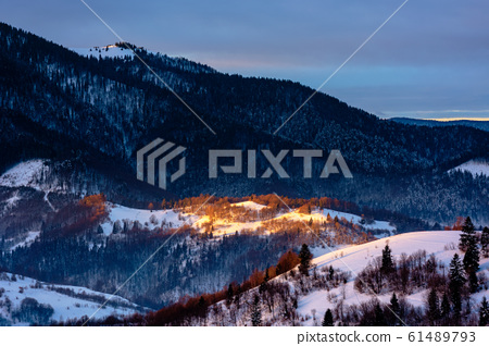 winter countryside scenery at dawn 61489793