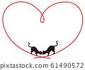 고양이의 하트 프레임 61490572