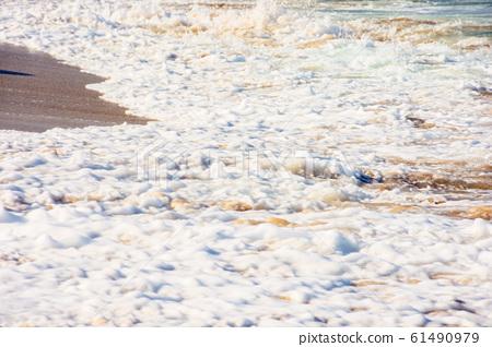 sea waves splash foam on the sunny beach 61490979