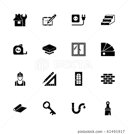 Building House - Flat Vector Icons 61491917
