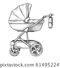 Sketch of a baby stroller. Vector illustration 61495224