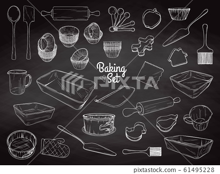 Set of dishes for baking. Baking stuff. Vector 61495228