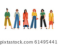 Beautiful women or girls standing together. High fashion, fine clothes. Smiling characters 61495441