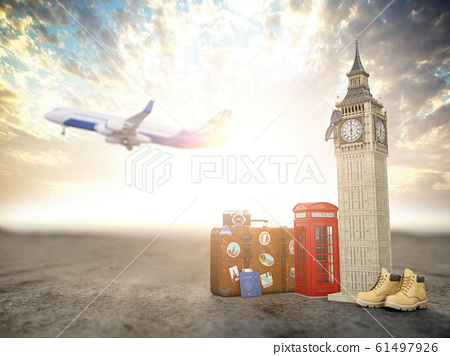 Flight to London, Great Britain.Vintage suiitcase 61497926