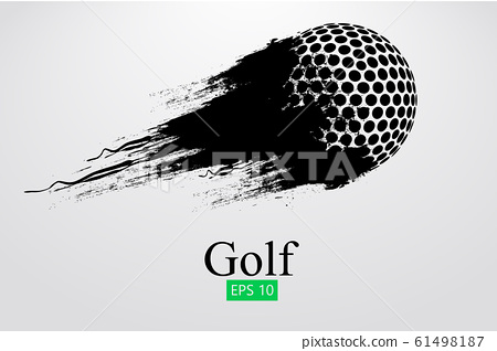 Silhouette of a golf ball. Background and text on a separate layer, color can be changed in one click. Vector illustration 61498187