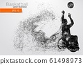 Basketball player disabled. Text on a separate layer, color can be changed in one click. Vector illustration 61498973