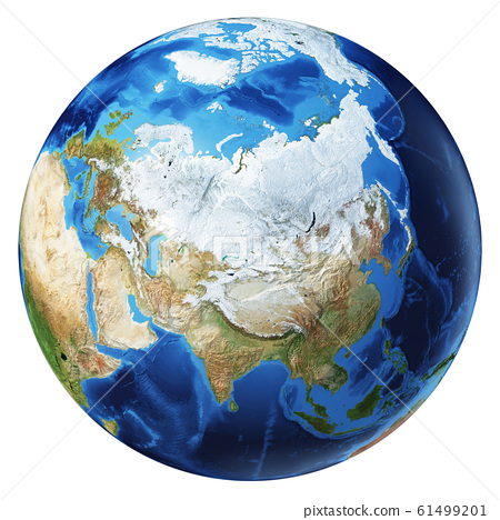 Earth globe 3d illustration. North Asia view. 61499201
