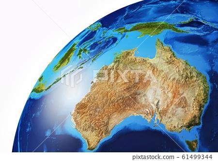 Earth globe close-up of Oceania. 61499344