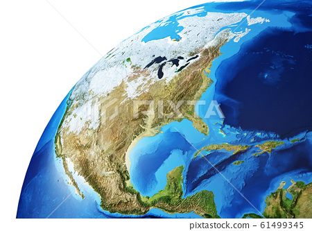 Earth globe close-up of the North America. 61499345