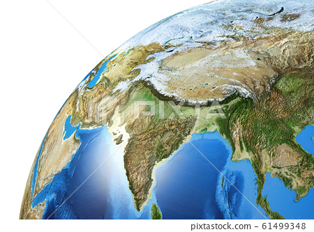 Earth globe close-up of the Asiatic area. 61499348
