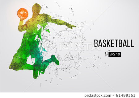 Silhouette of a basketball player. Dots, lines, triangles, color effects and background on a separate layers, color can be changed in one click. Vector illustration 61499363