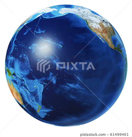 Earth globe 3d illustration. Pacific Ocean view. 61499401
