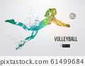 Silhouette of volleyball player woman, girl, female. Dots, lines, triangles, text, color effects and background on a separate layers, color can be changed in one click. Vector illustration 61499684