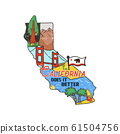 Vintage California map badge with tourist attractions. Retro style US state patch concept, print for t-shirt and other uses. Included quote saying - Cali does it better. Stock isolated 61504756