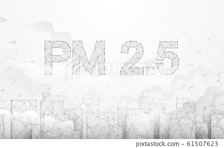 Pollution PM2.5 in the capital city. Toxic haze in the city. Vector illustration 61507623