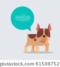cute French Bulldog dog with chat bubble speech furry human friend home pet concept cartoon animal full length 61509752