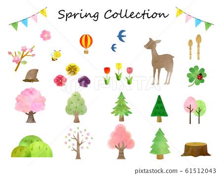 봄의 수채화 일러스트 소재 61512043