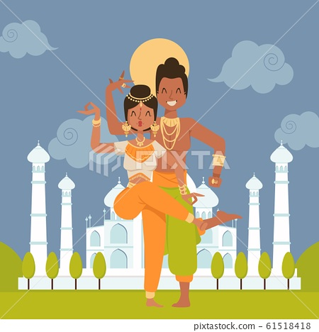 Indian dancers cartoon characters, vector illustration. Happy dancing couple, man and woman performing at Taj Mahal palace in India. People in traditional costumes, exotic dance 61518418