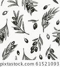 Olive branch seamless pattern. Hand drawn vector 61521093