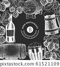 Beer glass mug and hop design template. Hand drawn 61521109