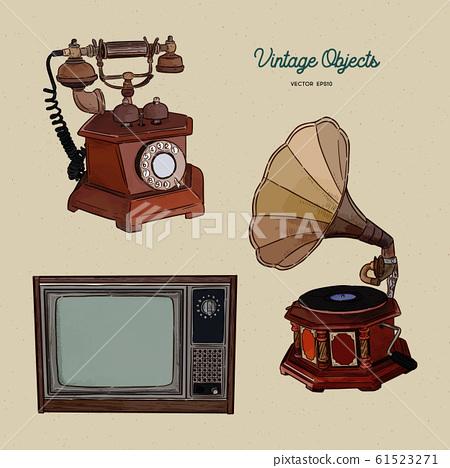 Vintage object set, hand draw sketch vector. 61523271