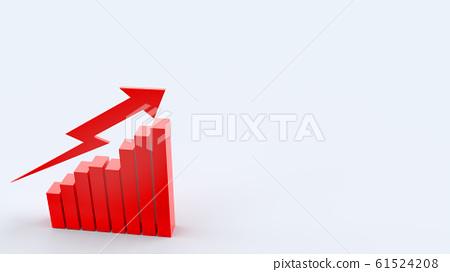 The red arrow and chart on white background 3d rendering for business content. 61524208