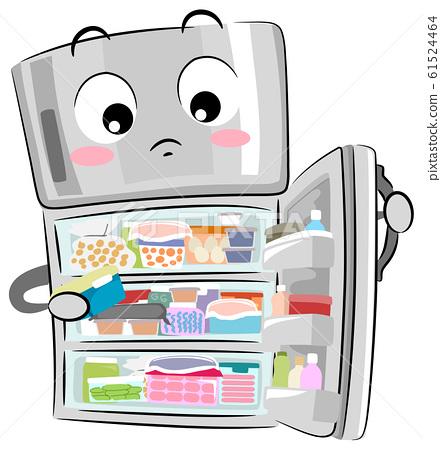 Mascot Refrigerator Full Cluttered Illustration 61524464