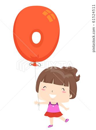 Kid Girl Balloon Number Zero Illustration 61524511