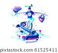 harmony illustration man circus performer riding unicycle on rope inner balance in hand equilibrium counterpoise between heart and brain 61525411