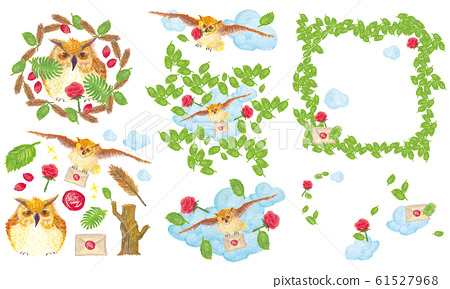[Hand Drawing] Owl theme natural set 61527968